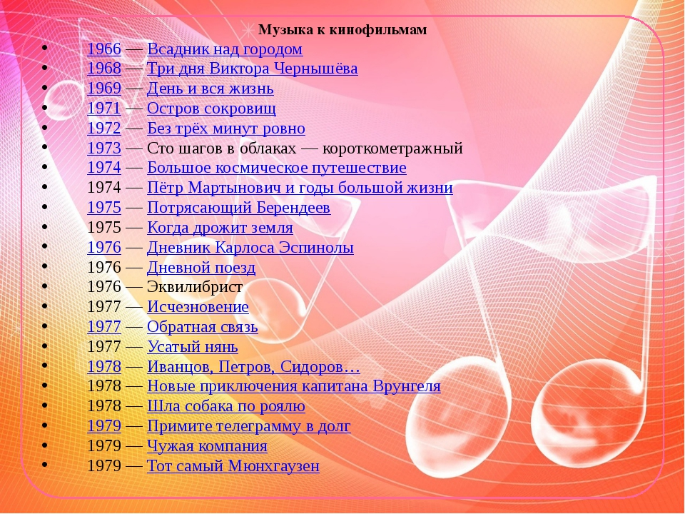 Музыка к кинофильмам 1966— Всадник над городом 1968— Три дня Виктора Черныш...