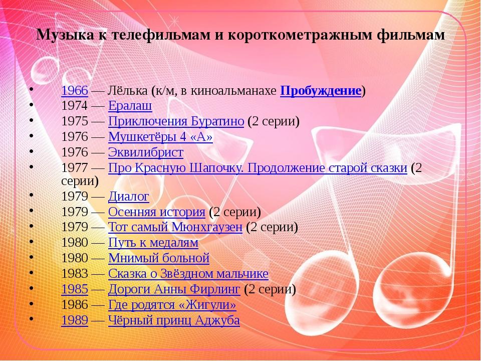 Музыка к телефильмам и короткометражным фильмам 1966— Лёлька (к/м, в киноаль...