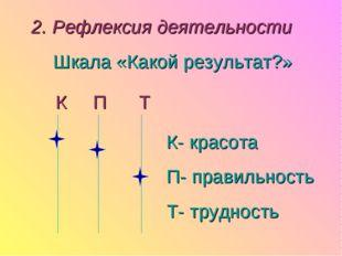 2. Рефлексия деятельности Шкала «Какой результат?» К П Т К- красота П- правил