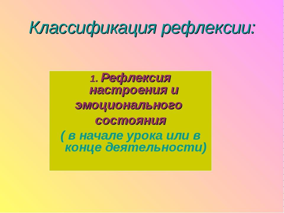 Классификация рефлексии: 1. Рефлексия настроения и эмоционального состояния (...