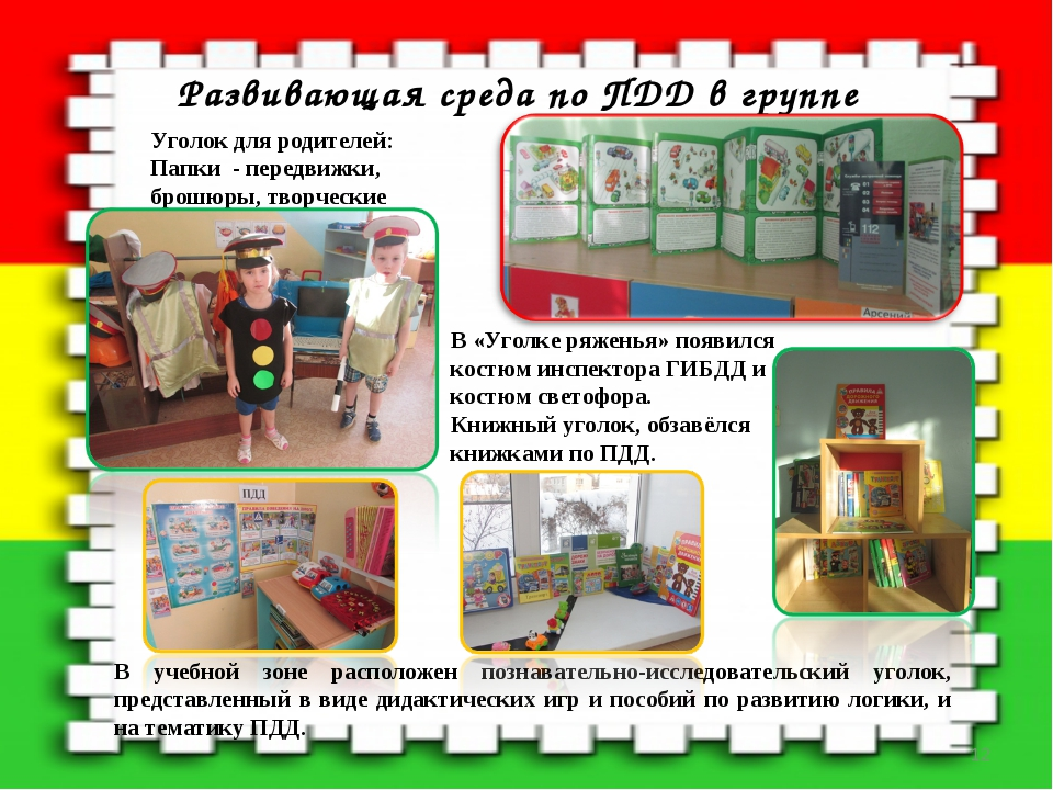 Развивающая среда по ПДД в группе Уголок для родителей: Папки - передвижки, б...
