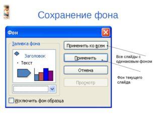 Все слайды с одинаковым фоном Сохранение фона Фон текущего слайда