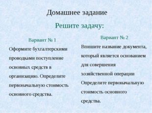 Домашнее задание Вариант № 1 Оформите бухгалтерскими проводками поступление о