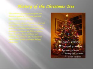 History of the Christmas Tree The tradition of having an evergreen tree becom