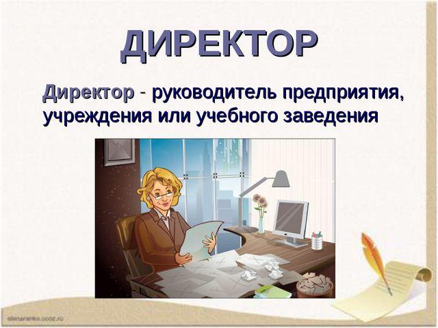 ДИРЕКТОР Директор -руководитель предприятия, учреждения или учебного заведен...