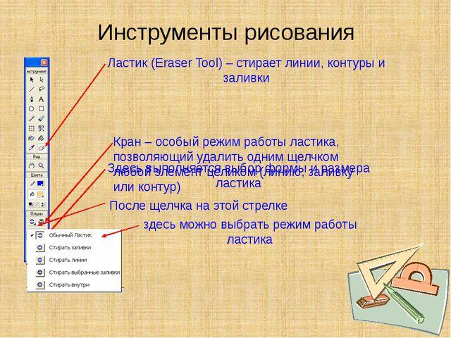 Инструменты рисования Ластик (Eraser Tool) – стирает линии, контуры и заливки...