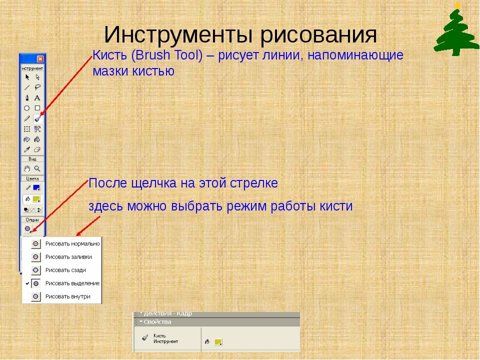 Инструменты рисования Кисть (Brush Tool) – рисует линии, напоминающие мазки к...