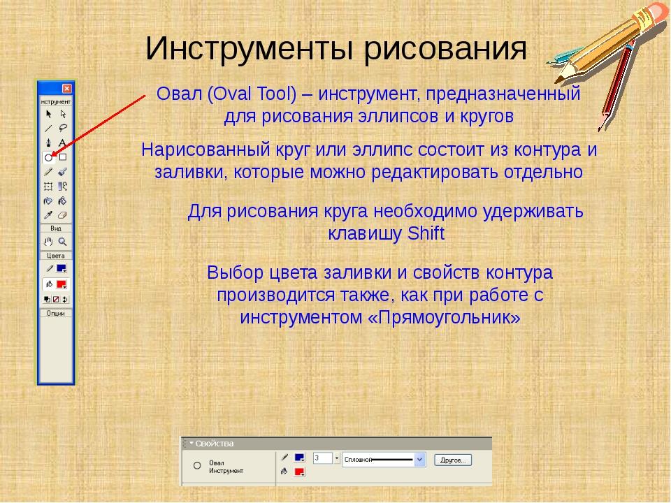 Инструменты рисования Овал (Oval Tool) – инструмент, предназначенный для рисо...