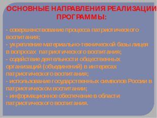 ОСНОВНЫЕ НАПРАВЛЕНИЯ РЕАЛИЗАЦИИ ПРОГРАММЫ: - совершенствование процесса патри