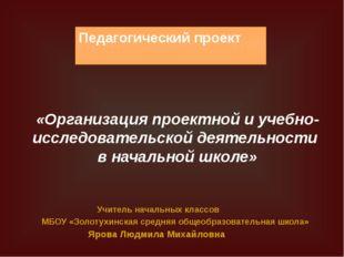 Педагогический проект «Организация проектной и учебно-исследовательской деяте