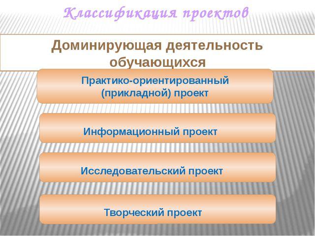 Классификация проектов Доминирующая деятельность обучающихся Практико-ориенти...