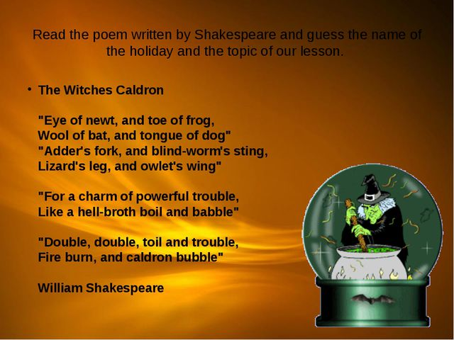 Read the poem written by Shakespeare and guess the name of the holiday and th...