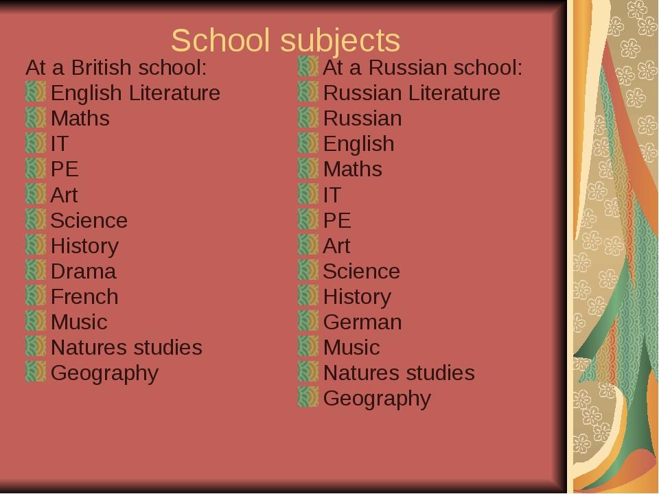 School subjects At a British school: English Literature Maths IT PE Art Scien...