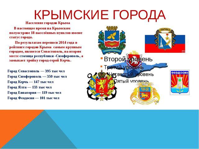Население городов Крыма В настоящее время наКрымском полуострове18 населён...