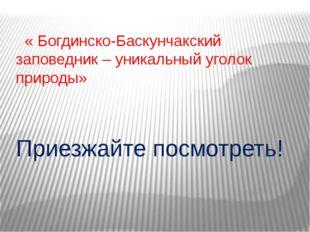 « Богдинско-Баскунчакский заповедник – уникальный уголок природы» Приезжайте