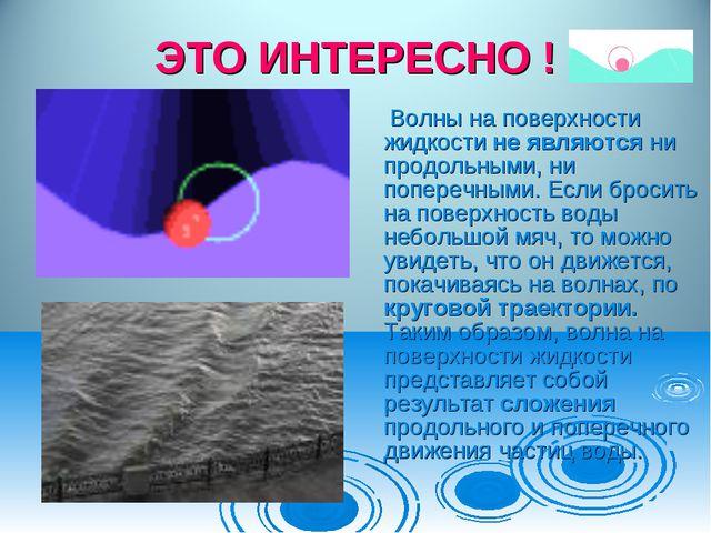 ЭТО ИНТЕРЕСНО ! Волны на поверхности жидкости не являются ни продольными, ни...