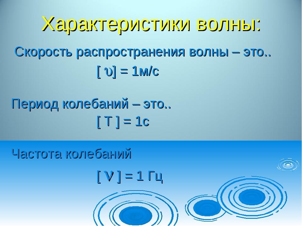 Характеристики волны: Cкорость распространения волны – это.. [ ] = 1м/с Пери...
