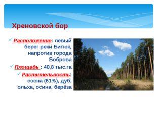 Расположение: левый берег реки Битюк, напротив города Боброва Площадь : 40,8