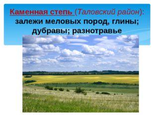 Каменная степь (Таловский район): залежи меловых пород, глины; дубравы; разно