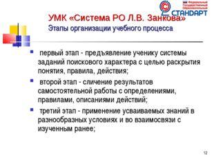 * УМК «Система РО Л.В. Занкова» Этапы организации учебного процесса первый эт