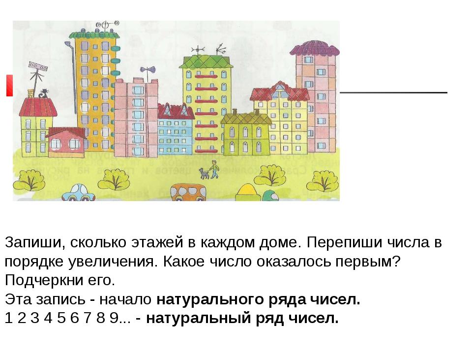 * Запиши, сколько этажей в каждом доме. Перепиши числа в порядке увеличения....