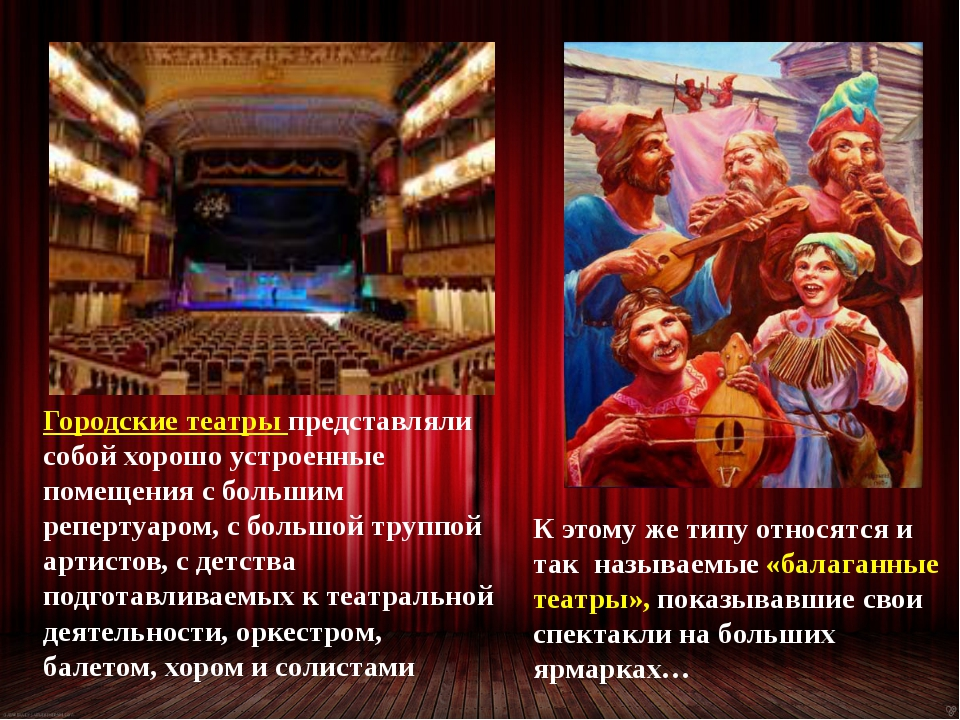 Городские театры представляли собой хорошо устроенные помещения с большим реп...
