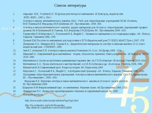 Список литературы Авдонин Н.И., Голубев В.К. 30 уроков репетитора по математи