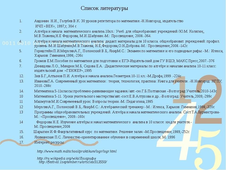 Список литературы Авдонин Н.И., Голубев В.К. 30 уроков репетитора по математи...
