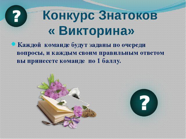 Конкурс Знатоков « Викторина» Каждой команде будут заданы по очереди вопросы...