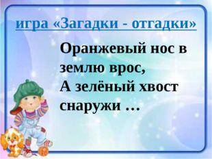 игра «Загадки - отгадки» Оранжевый нос в землю врос, А зелёный хвост снаружи …