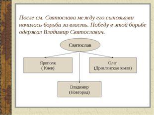После см. Святослава между его сыновьями началась борьба за власть. Победу в