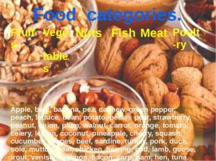 Food categories. Fruits Vege-tables Nuts Fish Meat Poult-ry Apple, beet, bana