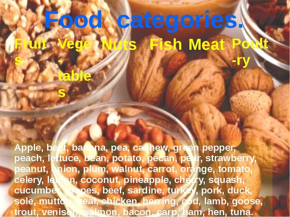 Food categories. Fruits Vege-tables Nuts Fish Meat Poult-ry Apple, beet, bana...