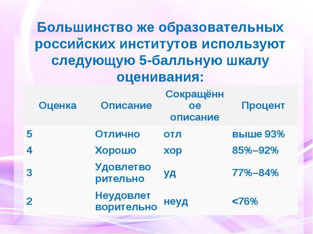 Большинство же образовательных российских институтов используют следующую 5-б...