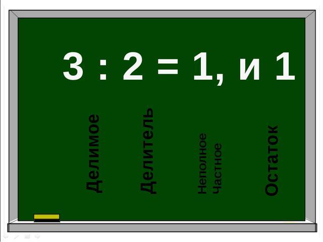 3 : 2 = 1, и 1 Делимое Делитель Неполное Частное Остаток