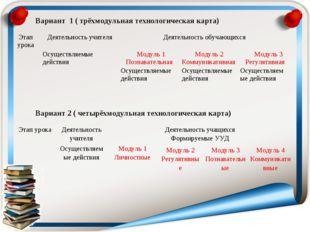 Вариант 1 ( трёхмодульная технологическая карта) Вариант 2 ( четырёхмодульна