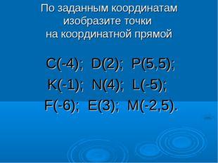 По заданным координатам изобразите точки на координатной прямой С(-4); D(2);