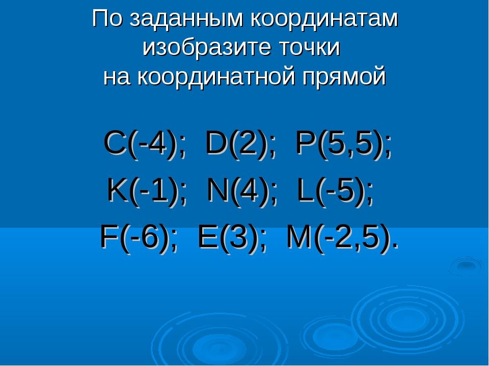 По заданным координатам изобразите точки на координатной прямой С(-4); D(2);...