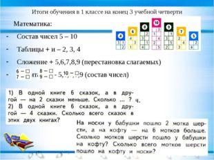 Итоги обучения в 1 классе на конец 3 учебной четверти Математика: Состав чисе