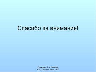 Спасибо за внимание! Гурьева А.А. и Янковец Н.А.,г.Нижний Тагил, 2015 Гурьева