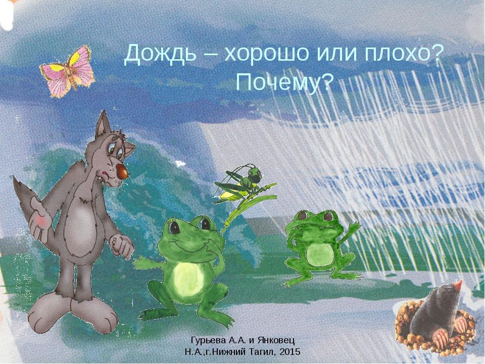 Дождь – хорошо или плохо? Почему? Гурьева А.А. и Янковец Н.А.,г.Нижний Тагил,...