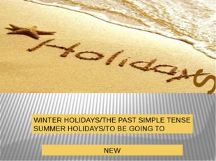s WINTER HOLIDAYS/THE PAST SIMPLE TENSE SUMMER HOLIDAYS/TO BE GOING TO NEW