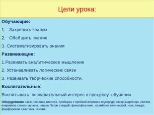 Цели урока: Обучающие: Закрепить знания Обобщить знания 3. Систематизировать