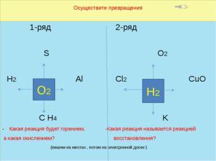 Осуществите превращения 1-ряд 2-ряд S O2 H2 Al Cl2 CuO С H4 K Какая реакция б