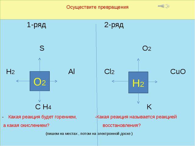 Осуществите превращения 1-ряд 2-ряд S O2 H2 Al Cl2 CuO С H4 K Какая реакция б...