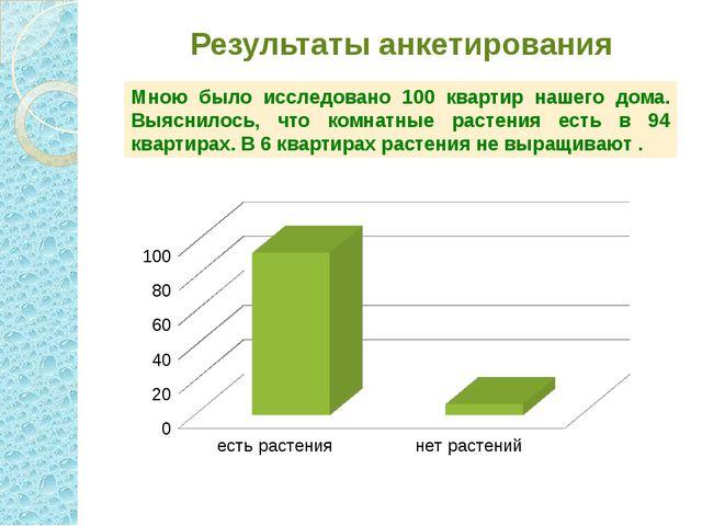 Результаты анкетирования Мною было исследовано 100 квартир нашего дома. Выясн...