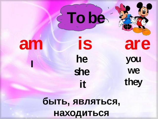 To be am is are he she it I you we they быть, являться, находиться