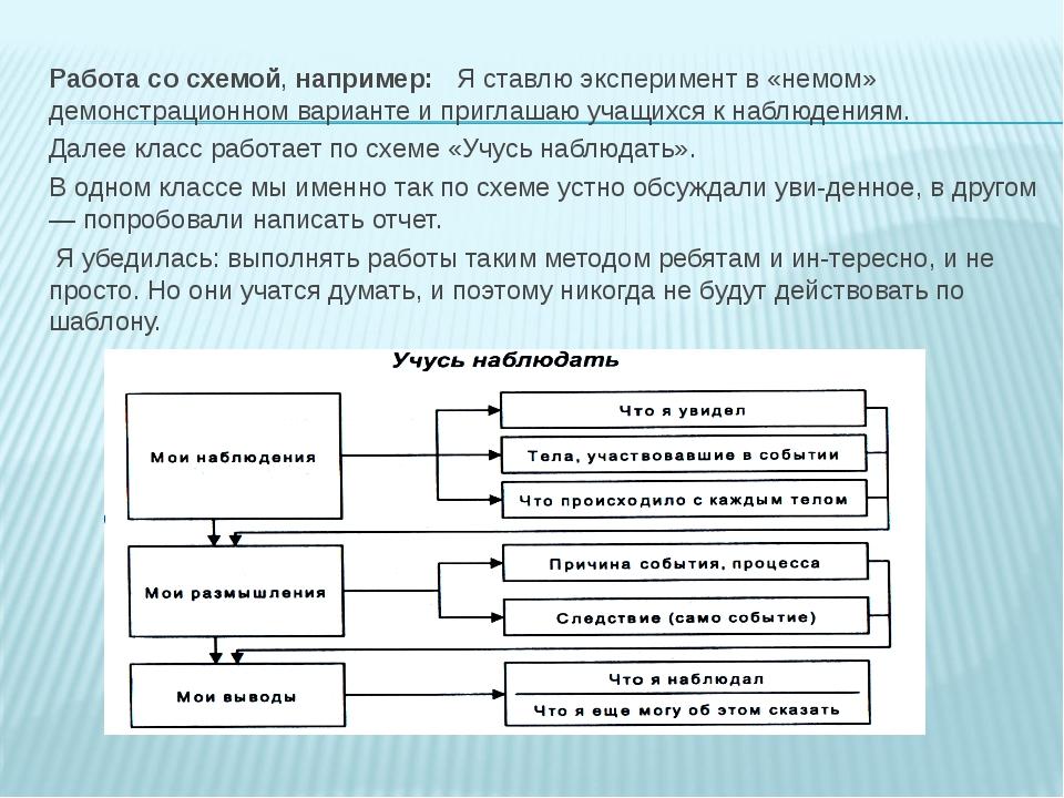 Работа со схемой, например: Я ставлю эксперимент в «немом» демонстрационном в...
