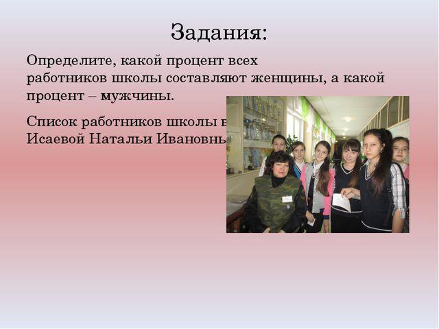 Задания: Определите, какой процент всех работников школы составляют женщины,...