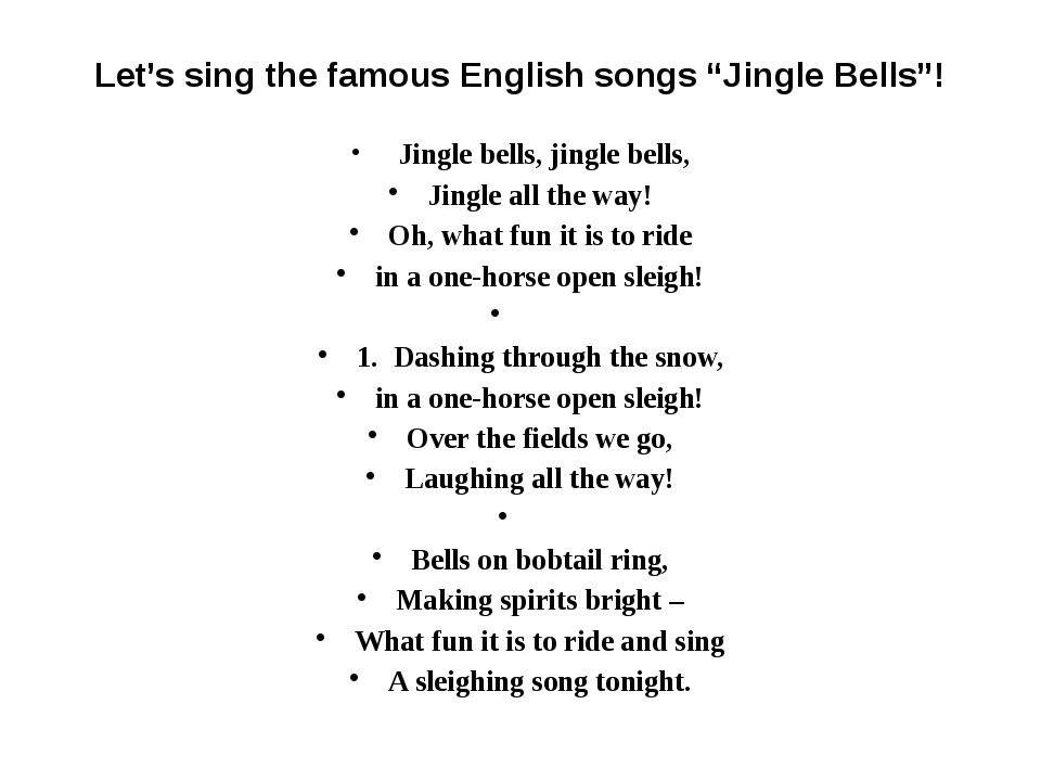 """Let's sing the famous English songs """"Jingle Bells""""! Jingle bells, jingle be..."""
